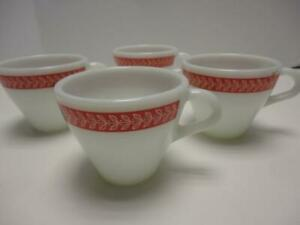 Vintage Pyrex Autumn Bands Red Cups No. 721 Set of 4 RARE