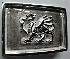 Solid Sterling Silver Welsh Dragon Belt Buckle Wales Rugby