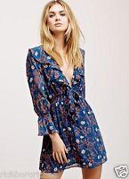 NEW Free People blue Floral Ruffle Elastic Waist V Neck Mini Dress M