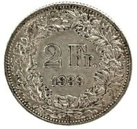 Switzerland  2 Francs 1939 B- Bern Uncirculated Silver Coin  KM#21.
