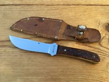 REMINGTON RH4 FIXED BLADE KNIFE  STAG  GOOD VINTAGE CONDITION  WITH SHEATH   USA