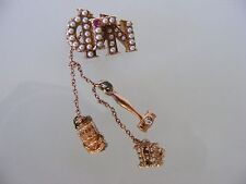 Vintage PHI GAMMA NU 14k Gold Seed Pearl Ruby Diamond Chatelaine Pin Badge
