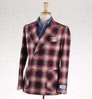 NWT $1395 BELVEST Navy Blue and Red Plaid Cotton Sport Coat Slim 38 R (fits 36R)