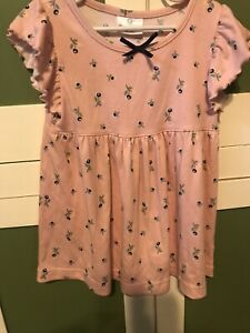 hanna andersson Girls Pink Babydoll Top Size 130 Angle Sleeves Size 7/8
