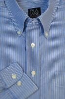 Jos A Bank Men's French Blue Stripe Cotton Casual Shirt L Large