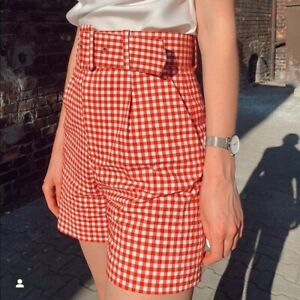 NWT Zara Red Gingham Bermuda Shorts white belted blogger's fave s small summer