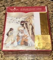 Carlton Cards 40 Deluxe Holiday Cards Nativity Theme Lined Envelopes Seals NEW