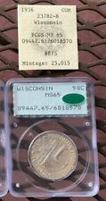 1936 Wisconsin Commemorative Half Dollar PCGS MS65 CAC Rattler, with 1980s tag