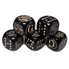 x5 Poker Dice (BLACK) Poker Dice Game Set - Craps