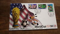 GIBRALTAR STAMP ISSUE FDC, 1994 USA SOCCER WORLD CUP SET OF 3 STAMPS