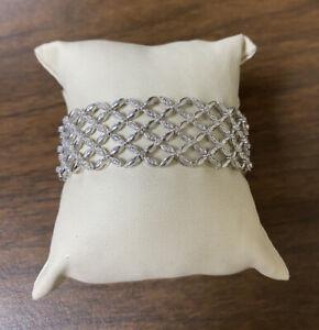 Unique Sterling Silver 925 Wide Flower Net Style .40 CTW Round Diamond Bracelet