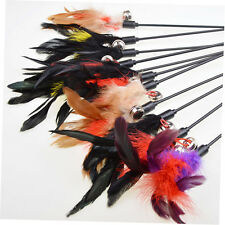 Kitten Cat Pet Toy Chaser Wand Teaser Feather With Bell Interactive Play Fun ZU