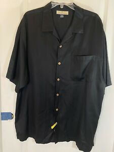 Tommy Bahama Black Silk Blend Button Down Short Sleeve Shirt Size XL