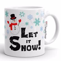 Christmas Mug Let it Snow Cute Snowman Snowflakes 11 oz Coffee Tea Cup Xmas Gift