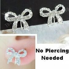 U CLIP ON studs CRYSTAL BOW EARRINGS rhinestone NON-PIERCED STUDS silver plated