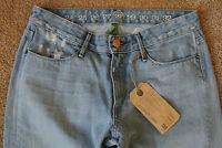 EARNEST SEWN GEMMA Indigo Destressed Jeans 28X34 NWT$249 Detailed! Wide leg!