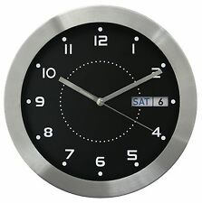"87784 Equity by La Crosse 11"" Day & Date Metal Analog Wall Clock"
