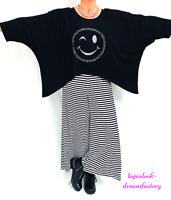 Lagenlook OVERSIZE Blogger Kasten-Shirt weiß SMILEY-Strass 46 48 50 52 56 58