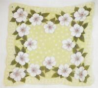 White Dogwood Flowers Hankie Green Cotton Vintage Retro 1950s Handkerchief