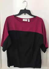 NWT Womens Black Fuscia Pink Color Block Chico's Short Sleeve Blouse Top Shirt 0