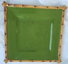Vintage Speckled Green Hand Painted Bamboo Style Dish IPANEMA