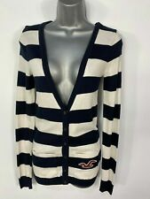 WOMENS HOLLISTER NAVY & WHITE STRIPED KNITTED BUTTON UP CARDIGAN JUMPER SIZE XS
