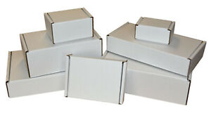 White Die Cut Folding Lid Postal Cardboard Boxes Small Parcel Shipping Cartons
