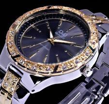 Q&Q by Citizen Damen Armband Uhr Anthrazit Silber Gold Farben Strass F511-402Y