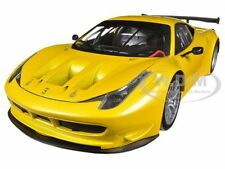 FERRARI 458 ITALIA GT2 YELLOW 1/18 DIECAST MODEL CAR BY HOTWHEELS BCJ78
