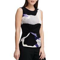DKNY NEW Women's Printed Side-knot Sleeveless Blouse Shirt Top TEDO