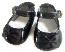 """Black Patent Dress Shoes W/ Satin Bows made for 18"""" American Girl Doll Clothes"""