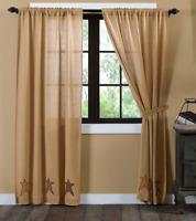 """Stratton Applique Star Burlap Window Panel Set Southern Primitive Curtains 84"""""""