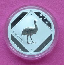 2015  AUSTRALIA ROAD SIGN EMU   $10 ONE DOLLAR SILVER  FROSTED BU  5oz  COIN BOX