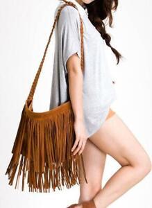 Women's Boho Vintage Suede-like Fringed Shoulder Bag in Brown & Black AUS STOCK