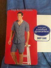 Hanes 2XL/2xG Short Sleeve Short Leg Pajama Set Solid Blue Color * view Images