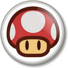 """Super Mario Red Mushroom 1"""" Pin Button Badge Brothers Bros Hit Points 1-UP Life"""