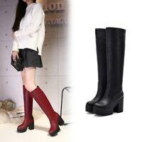 Women Knee High Boots PU Leather Round Toe Chunky Heel Platform Shoes Back Zip