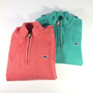 VINEYARD VINES Boys Toddler Size 7 1/4 Zip Pullover Sweater, Lot of 2, Green Red
