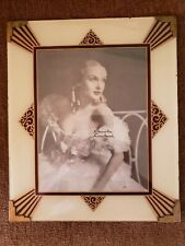 Vintage Art Deco Picture Frame Reverse Painted Glass Maroon Gold Cream Metal Old