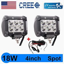 2X 4'' 18W CREE LED LIGHT 4WD Off-road FOG CUBE PODS DRIVING SPOT+WIRING KIT QUN