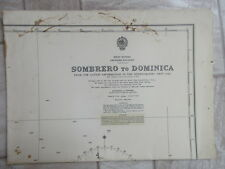vintage NAUTICAL CHART SOMBRERO to DOMINCA West Indies Leeward Island