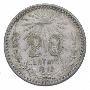SILVER Roughly Size of Nickel 1910 Mexico 20 Centavos World Silver Coin *604