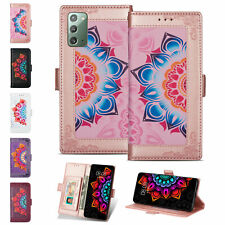 For Samsung Note20 S10 A71 5G Bling Mandala Patterned Magnetic Wallet Case Cover
