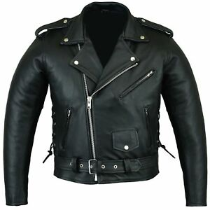 BUSA Bikers Gear Patrol Motorcycle Armoured Leather Classic Brando Jacket