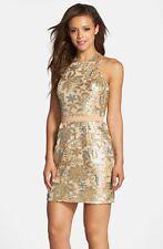 DRESS THE POPULATION 'SCARLETT' SEQUIN CHIFFON HALTER  DRESS sz M