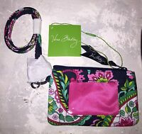 NWT VERA BRADLEY Zip ID Case & Lanyard Badge Holder Key Ring PETAL PAISLEY NWT