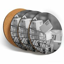 4 x sous-verres-BW-Online Shopping chariot drôle #43307