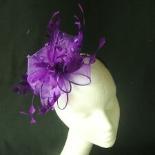 Purple Feather Fascinator for Races , Weddings , And Proms