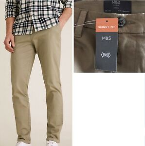 M&S Mens Slim / Skinny Fit Cotton Stretch Chinos W-38-30-L-29-31 Navy Sand