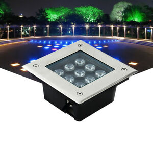 Outdoor LED Underground Path Light In-ground Buried Lamp Square Tempered Glass